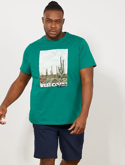 Maglietta regular stampa eco-design                                                                                                                             VERDE Taglie forti uomo