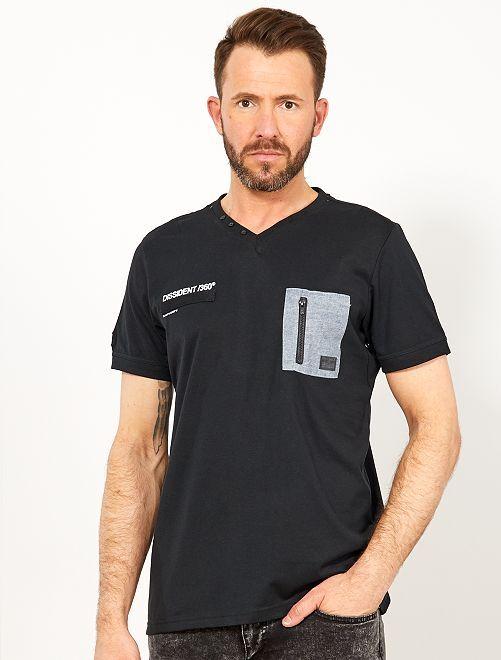 Maglietta regular tasca sul petto                                                     nero Uomo