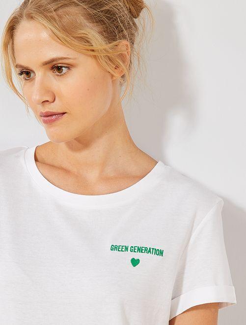Maglietta ricamata cotone bio                                         BIANCO