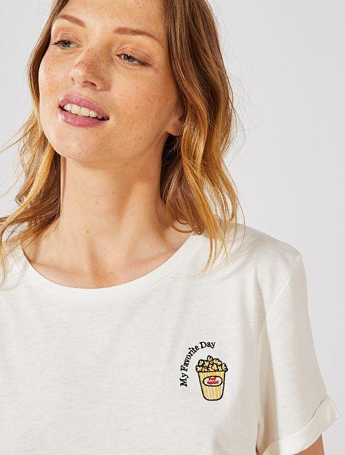 Maglietta ricamata 'Eco-design'                                                                 BIANCO Donna