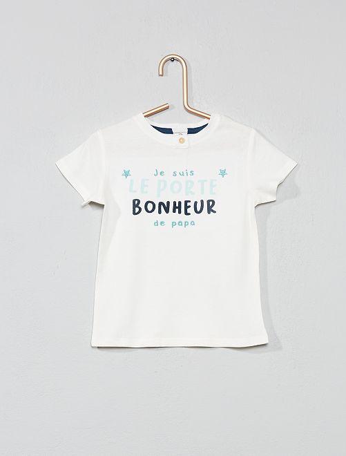 Maglietta ricamata ''portafortuna'                                                     BIANCO Neonata