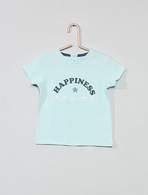 Maglietta ricamata ''portafortuna'                                         BLU Neonata