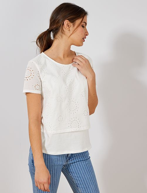 Maglietta ricamo inglese                                                                 bianco neve Donna
