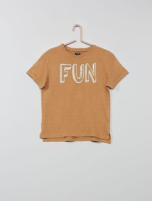 Maglietta rilievo con stampa                                                                             BEIGE Infanzia bambino
