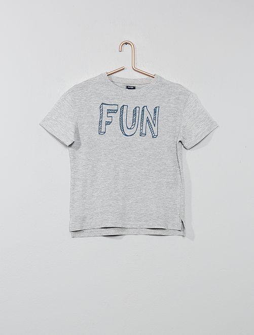 Maglietta rilievo con stampa                                                                                         GRIGIO Infanzia bambino