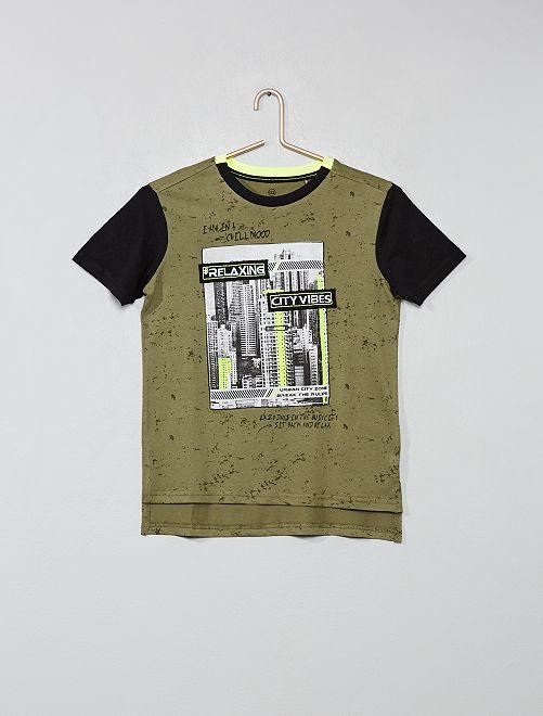 Maglietta screziata con stampa                                         KAKI Ragazzo