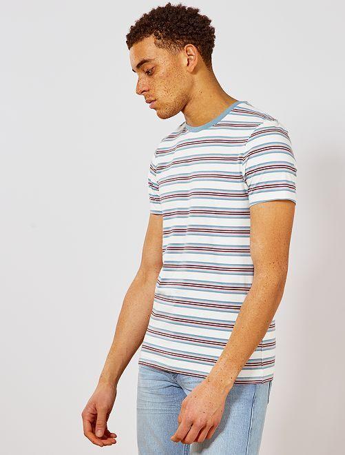 Maglietta slim a righe                             blu grigio/rosso Uomo