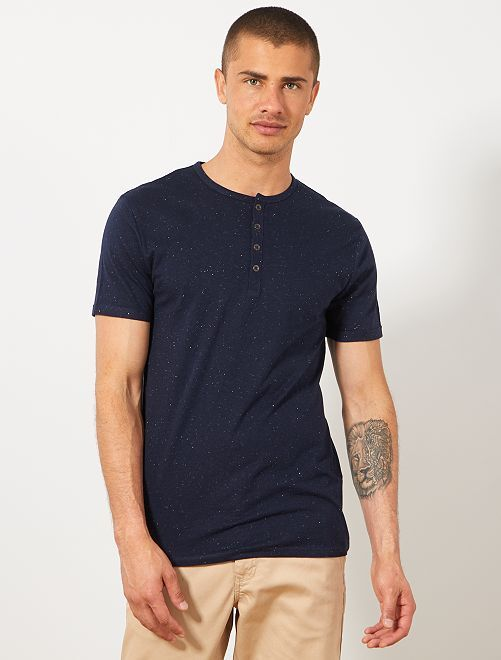 Maglietta slim collo alla tunisina                                             BLU