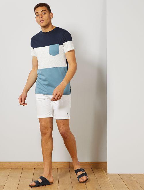 Maglietta slim color block                                         blu grigio Uomo