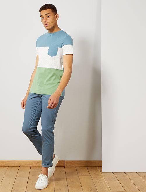 Maglietta slim color block                                                     VERDE Uomo