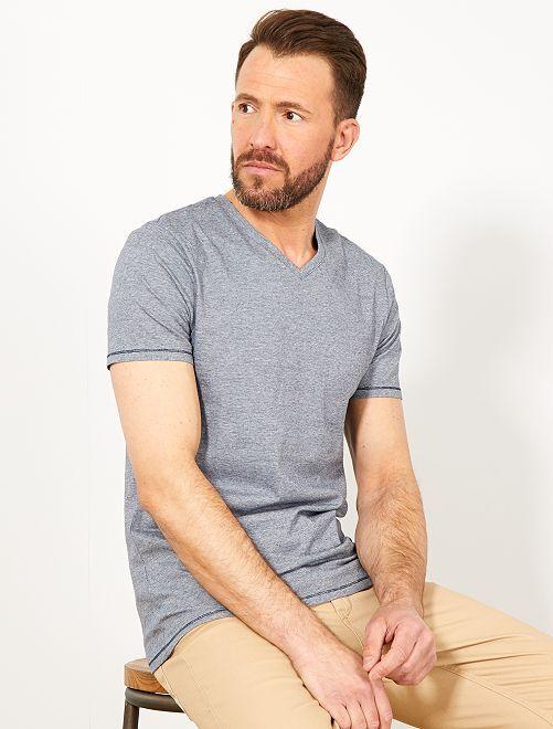 Maglietta slim cotone bio                                                                 BLU Uomo