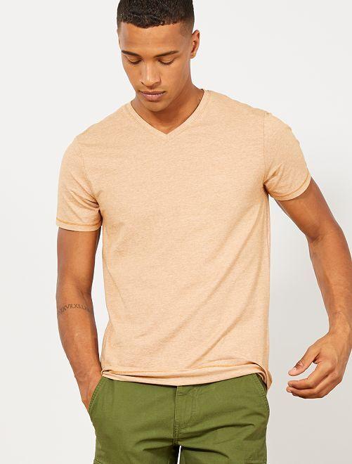 Maglietta slim cotone bio                     GIALLO Uomo