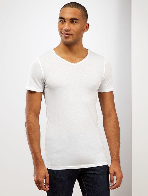 Maglietta slim fit cotone tinta unita collo a V                                                                             bianco