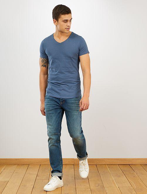Maglietta slim fit cotone tinta unita collo a V                                                                                                     BLU