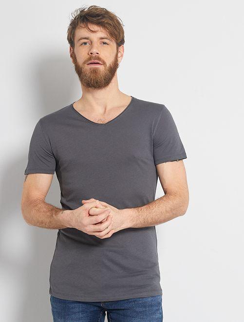 Maglietta slim fit cotone tinta unita collo a V                                                                                                                             GRIGIO