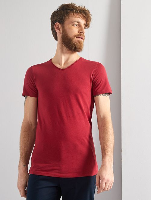 Maglietta slim fit cotone tinta unita collo a V                                                                                                                 rosa scuro