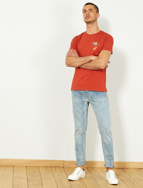 Maglietta slim ricamata                                                                             BIANCO Uomo