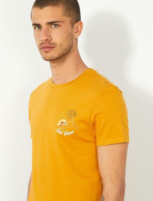 Maglietta slim ricamata                                         GIALLO Uomo