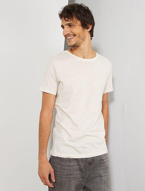 Maglietta slim screziata eco-design                     BEIGE Uomo