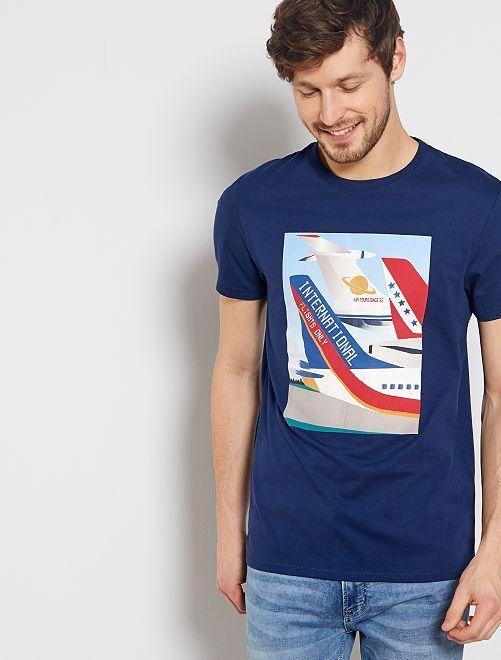 Maglietta stampa 'aereo'                                         BLU