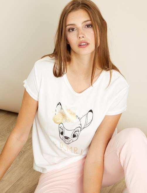 Maglietta stampa 'Bambi'                             NERO Donna
