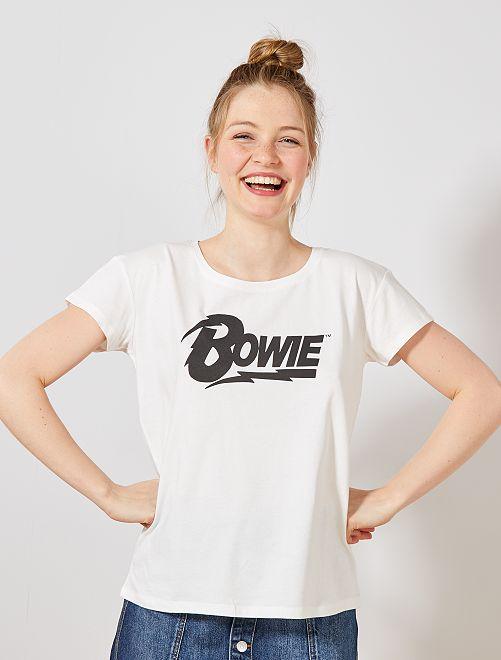 Maglietta stampa 'Bowie'                             bianco neve Donna