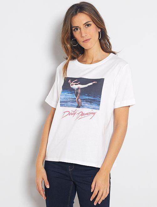Maglietta stampa 'Dirty Dancing'                             bianco