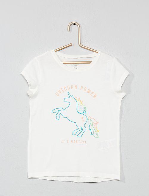 Maglietta stampa eco-design                                                     BIANCO Infanzia bambina