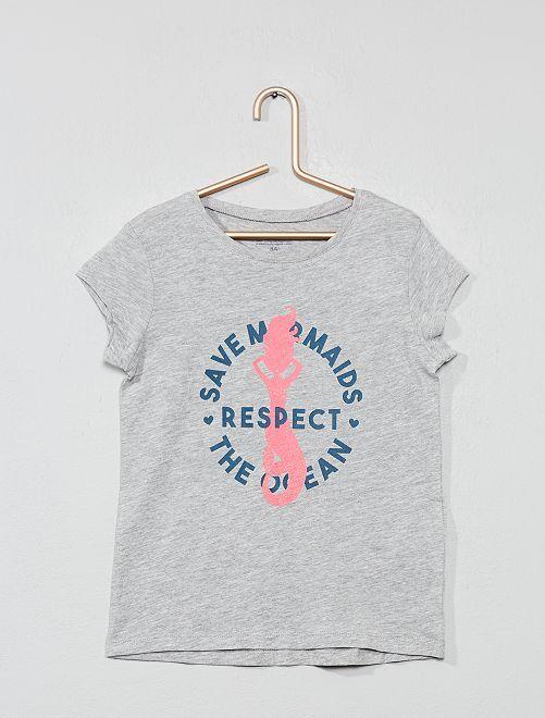 Maglietta stampa eco-design                                                                             GRIGIO Infanzia bambina