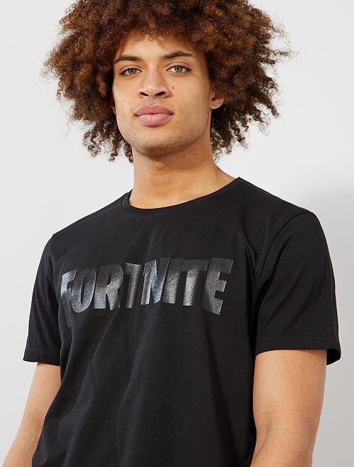 Maglietta stampa 'Fortnite'                             nero Uomo