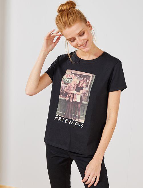 Maglietta stampa 'Friends'                             nero Donna