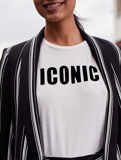 Maglietta stampa 'Iconic'                             bianco neve Donna