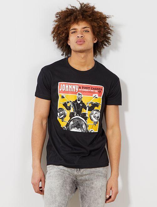Maglietta stampa 'Johnny Hallyday'                             nero Uomo