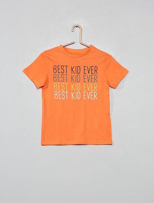 Maglietta stampa messaggio                                                     ARANCIONE Infanzia bambino