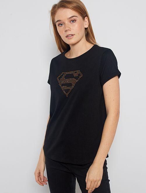 Maglietta stampa 'Superman'                             nero