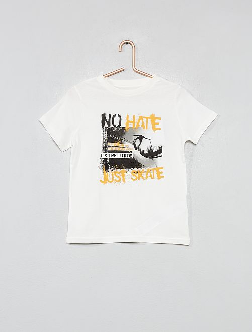 Maglietta stampata cotone bio                                                                                         BEIGE Infanzia bambino