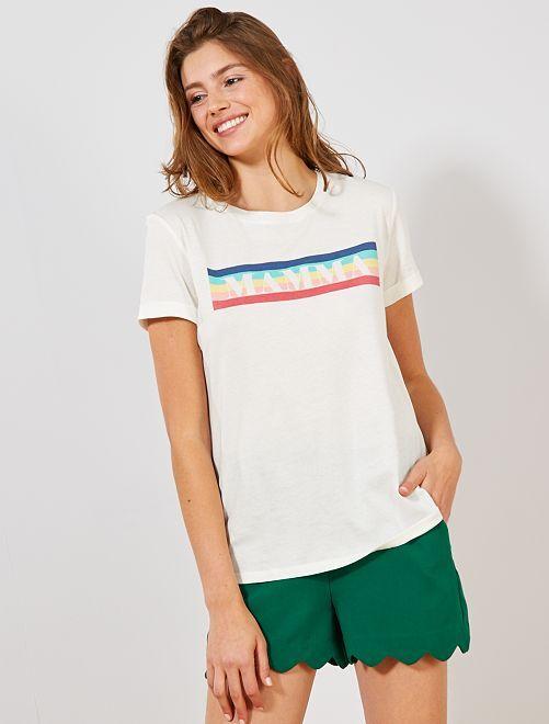 Maglietta stampata cotone bio                                         BIANCO Donna
