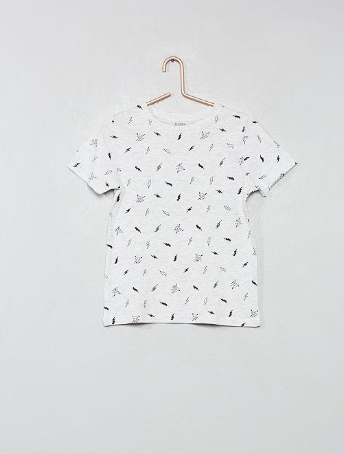 Maglietta stampata cotone bio                                                                                         BIANCO Infanzia bambino