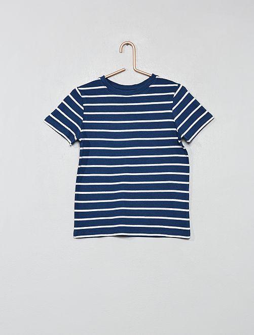 Maglietta stampata cotone bio                     BLU Infanzia bambino