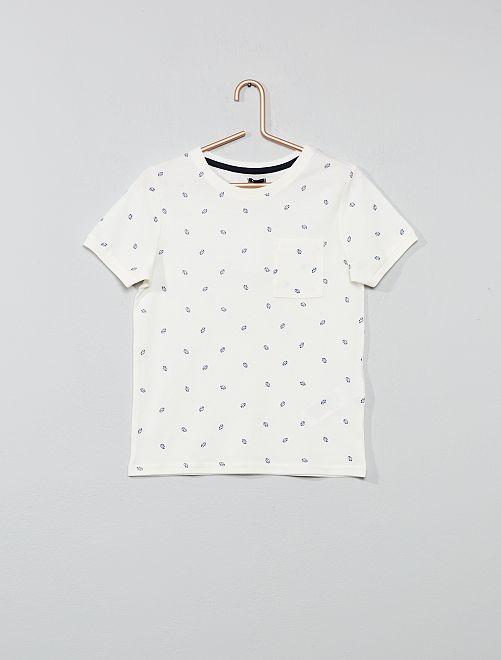 Maglietta stampata cotone piqué                     BIANCO Infanzia bambino