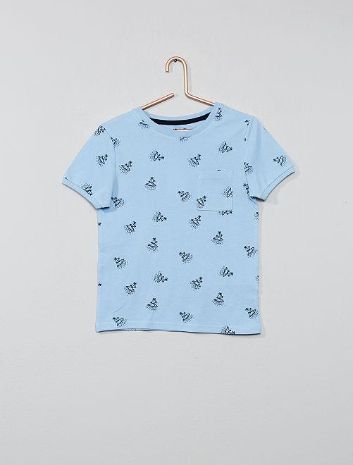 Maglietta stampata cotone piqué                                                     BLU Infanzia bambino