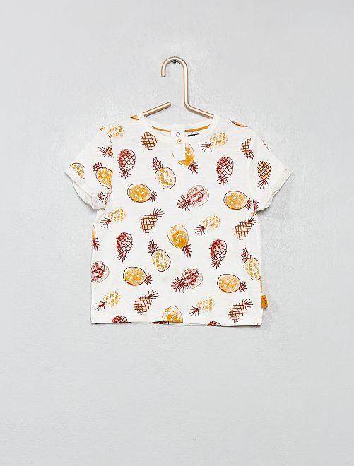 Maglietta stampata puro cotone                                         BIANCO Neonato