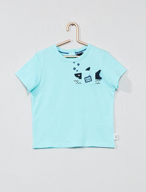 Maglietta stampata tasca applicazione                                                     BLU Neonato