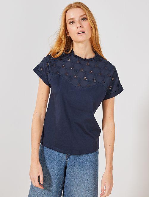 Maglietta stile blusa ricamo inglese                                         BLU Donna