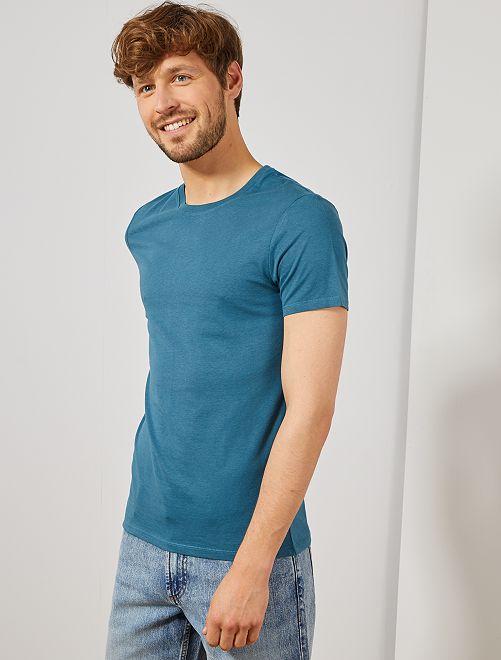 Maglietta tinta unita jersey                                                                                                                                                                 BLU Uomo