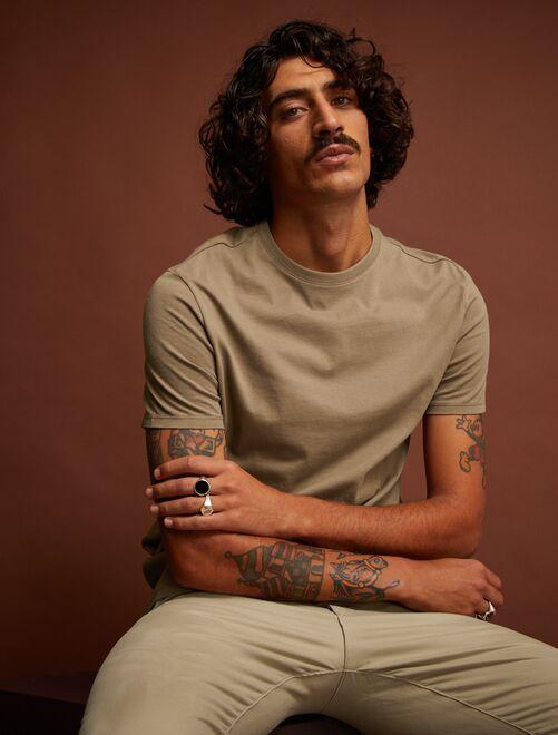 Maglietta tinta unita jersey                                                                                                                                                                 grigio beige Uomo