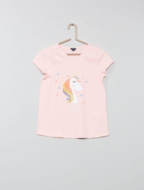 Maglietta velluto 'unicorno'                                                     ROSA Infanzia bambina