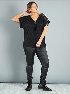 Top, bluse - Maglietta zip con pizzo - Kiabi