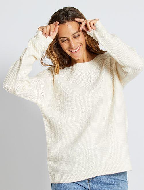 Maglione a maglia punto legaccio                                                                                                     bianco neve