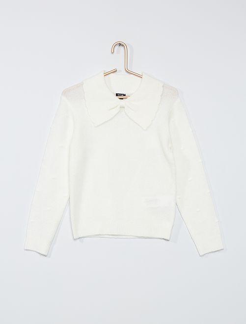 Maglione con colletto claudine largo                                         bianco neve